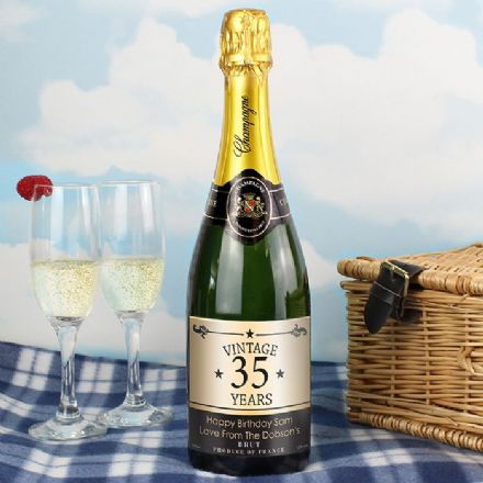 Personalised Vintage Years Numbers Champagne